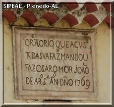 Placa gravada no pórtico - Oratório dos Condenados - Pça Barão de Penedo, s/nº - Penedo-AL
