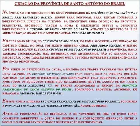 Criação da Província de Santo Antonio do Brasil - 24/08/1657