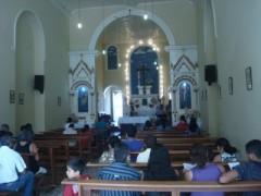 Nave da Igreja da Stª Cruz do Cortume (Edificação: 1818. Reconstrução/Ampliação: 1907. Guarda a imagem de Bom Jesus dos Navegantes - Penedo-AL