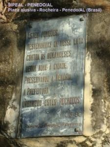 Rocheira - Placa alusiva - Penedo/AL (Brasil)