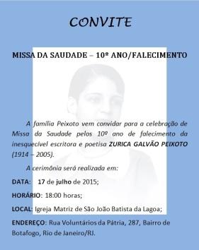 Zurica Galvão Peixoto Missa da Saudade - 10 anos